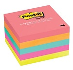 3M Post-it Notes 654-5PK, 3 x 3 inches, 5pads/pack, Neon Colors