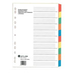 Atlas Divider Plastic Colored, 10 Tabs
