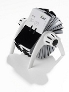 Durable Visifix Flip Rotary Business Card Holder, 400 Cards Capacity, Black/White