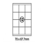 Xellent 12 Label/sheets, 70 x67.7mm 100sheets/pack
